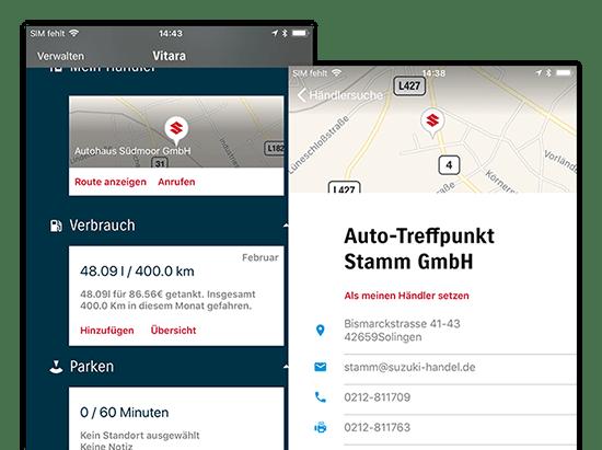 Beispielhafter Fahrzeug- und Händlersuche Kartenscreen der umgesetzten SUZUKI Automobile App