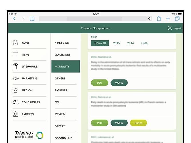 Homescreen mit geöffneten Menüs der umgesetzten Trisenox Compendium Website für Teva