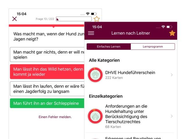 Beispielfrage und Lernen nach Leitner Einfaches Lernen Screens der umgesetzten BHV Hundeführerschein App