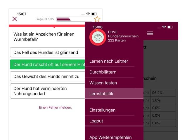 Beispielfrage und Screen mit Side Menu der umgesetzten BHV Hundeführerschein App
