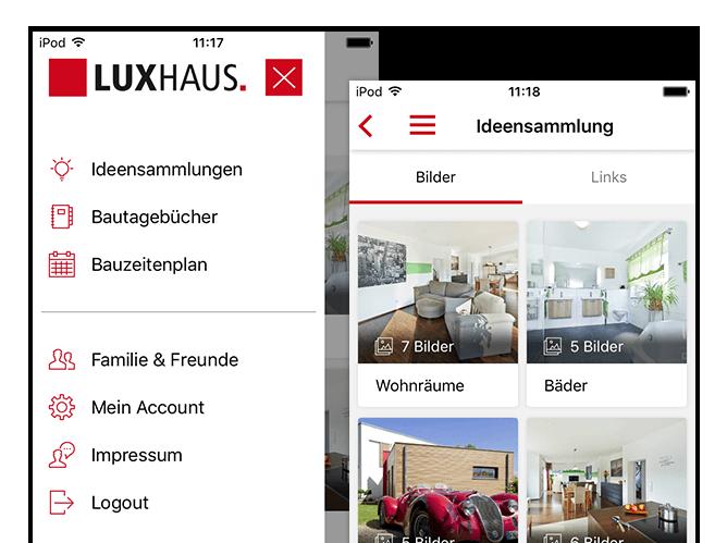 Side Menu und Ideensammlung Screens der umgesetzten Hausbau App für Luxushaus