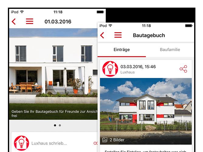 Bautagebuch und Beispieldatum in Bautagebuch Screens der umgesetzten Hausbau App für Luxushaus