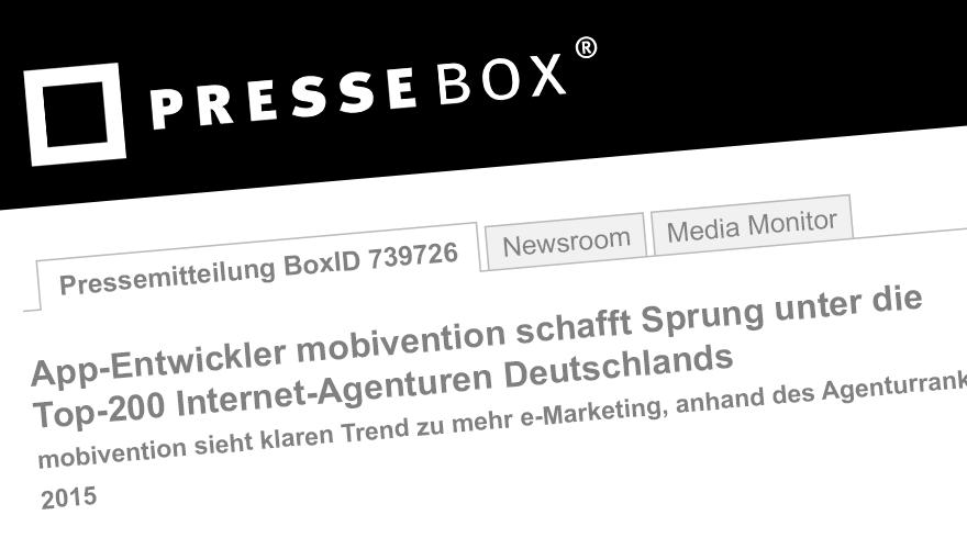 Pressebox Banner Mobivention schafft Sprung unter die Top 200 Internet Agenturen Deutschlands