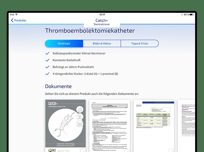 Produkt Beispiel Screen der umgesetzten ab medica App
