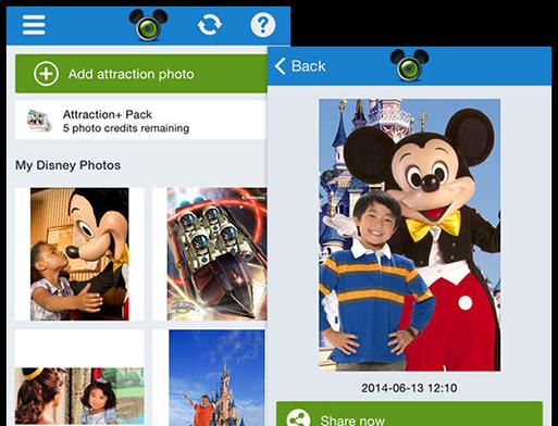 Add attraction photo und Beispielfoto Screens der umgesetzten Disney Photo Pass App für ip.labs