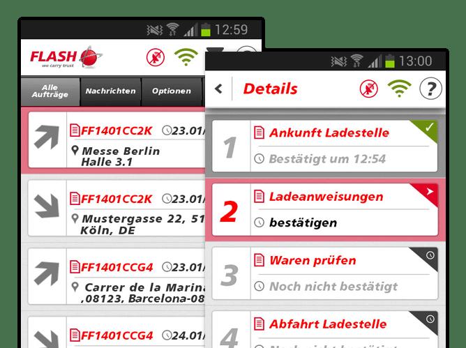 Alle Aufträge und Details Screens der umgesetzten FlashTrack App für Flash Europe International