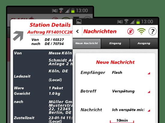 Station Details und Nachrichten Screens der umgesetzten FlashTrack App für Flash Europe International