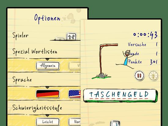 Optionen Screen und Beispielscreen eines gewonnenen Spiels der umgesetzten Hangman Hero App