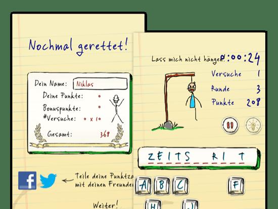 Nochmal gerettet und Beispielscreen eines offenen Spiels der umgesetzten Hangman Hero App