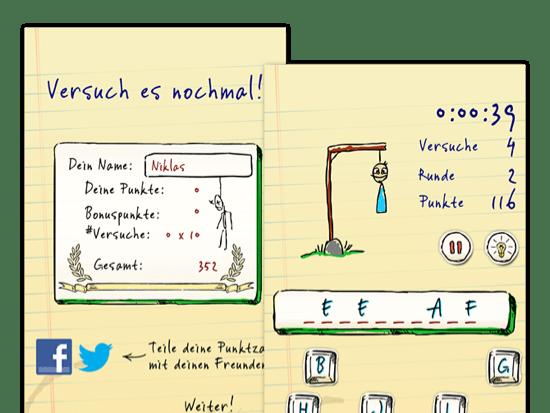 Versuch es nochmal und Beispielscreen eines offenen Spiels der umgesetzten Hangman Hero App