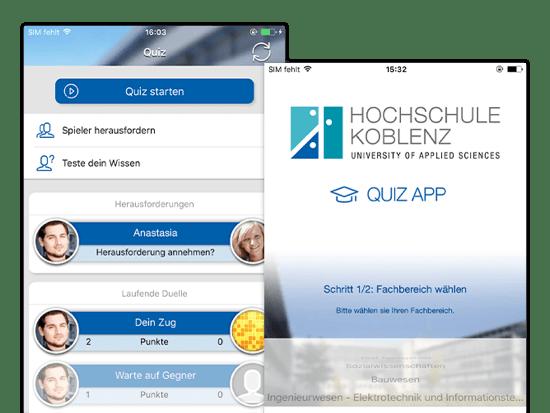 Quiz und Fachbereich wählen Screens der umgesetzten Lern Quiz App für die Hochschule Koblenz