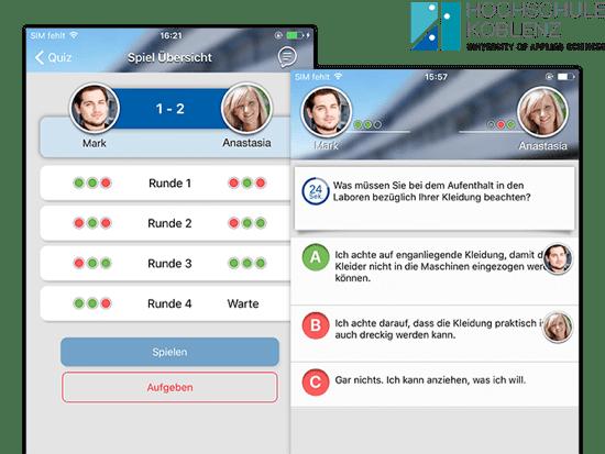 Spiel Übersicht und Beispielquiz Screens der umgesetzten Lern Quiz App für die Hochschule Koblenz