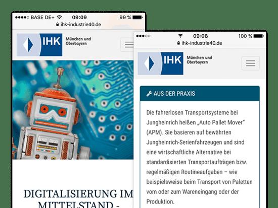 Homescreen und Aus der Praxis Screens der umgesetzten IHK Industrie 4.0 App für die IHK München und Oberbayern