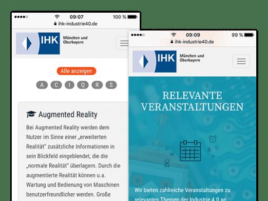 Relevante Veranstaltungen und Listen Screens der umgesetzten IHK Industrie 4.0 App für die IHK München und Oberbayern