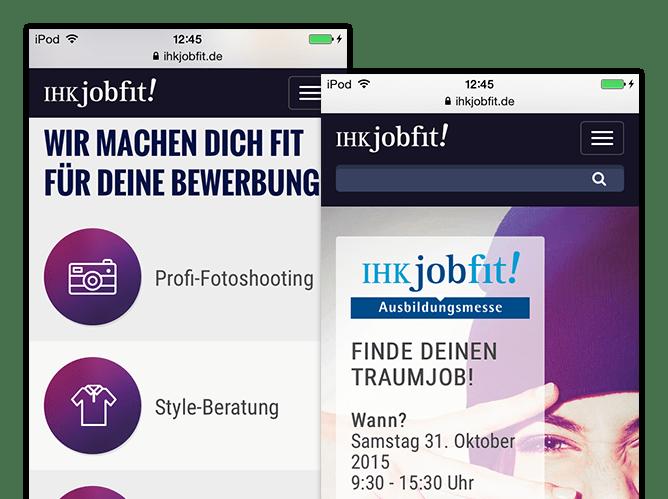 Wir machen dich fit für deine Bewerbung und Ausbildungsmesse Screens der umgesetzten IHK jobfit App für die IHK München und Oberbayern
