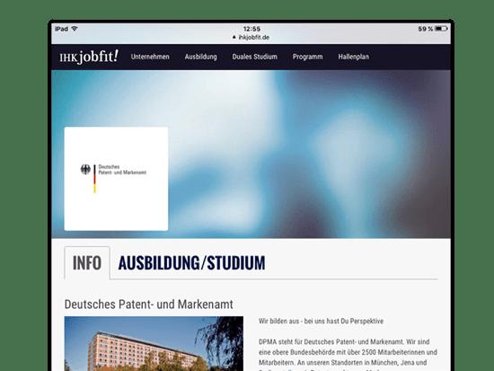 Info Screen der umgesetzten IHK jobfit App für die IHK München und Oberbayern