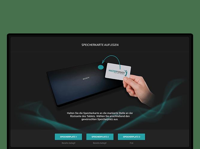 Speicherkarte Auflegen Screen der umgesetzten Masterformer App für NOFFZ Computer Technik