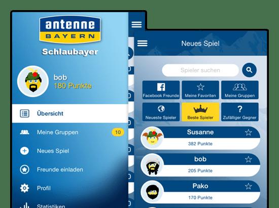 Übersicht und Neues Spiel Screens der umgesetzten Schlaubayer Quiz App für Antenne Bayern
