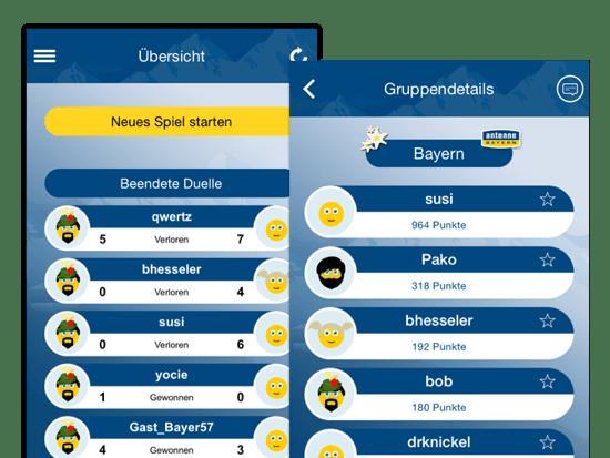 Übersicht Neues Speil starten und Gruppendetails Screens der umgesetzten Schlaubayer Quiz App für Antenne Bayern