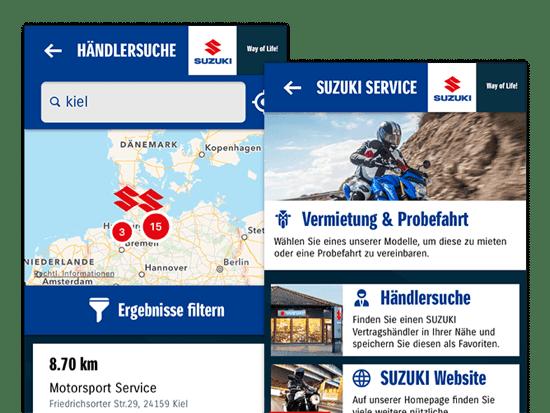 Händlersuche und Suzuki Service Screens der umgesetzten SUZUKI Motorrad App für SUZUKI Deutschland
