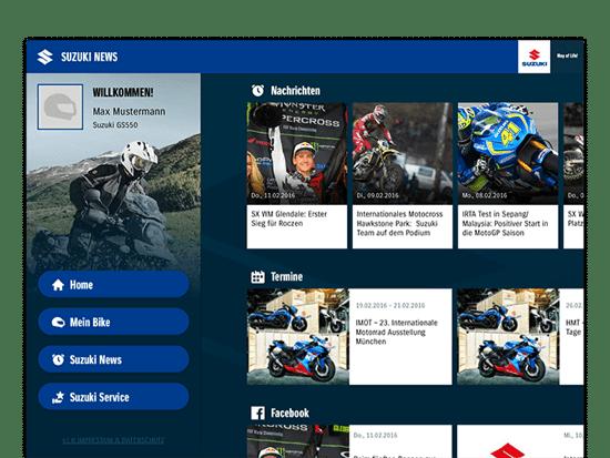 Erweiterter Suzuki News screen mit Nachrichten, Termine und Facebook Feed im eingeloggten Zustand