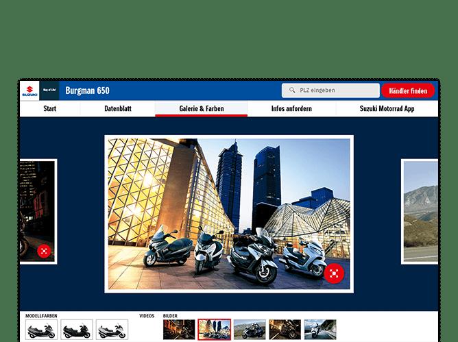 Galerie und Farben Screen der umgesetzten SUZUKI Motorrad Messe App für SUZUKI Deutschland