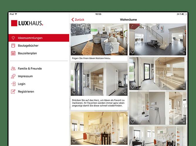 Wohnräume Screen mit offenem Side Menu der umgesetzten Hausbau App für Luxushaus