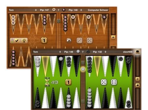 Backgammon Brett Screens mit grünem und braunem Design der umgesetzten Backgammon Gold Brettspiel App
