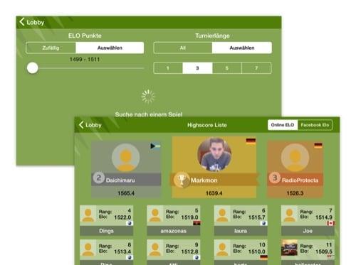 Lobby und Highscore Liste Screens der umgesetzten Backgammon Gold Brettspiel App