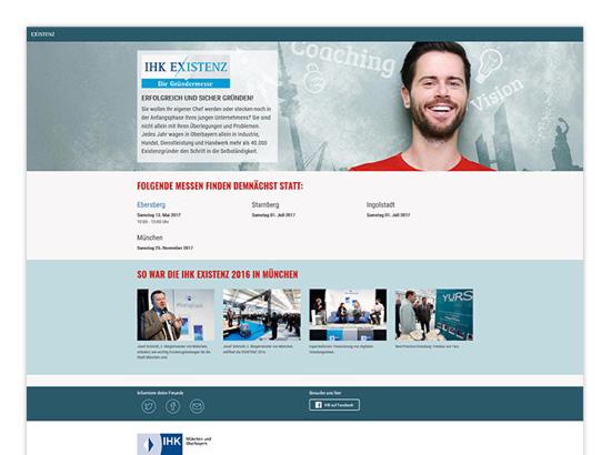 Homescreen der IHK Existenz - Die Gründermesse Website für die IHK München
