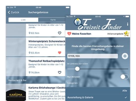 Suchergebnisse Listenansicht und Meine Favoriten Screens der umgesetzten Freizeit Finder App für Graupmann Hegran Djuya