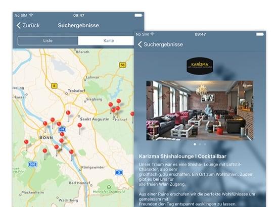Suchergebnisse Karte und Beispiel Suchergebnis Screens der umgesetzten Freizeit Finder App für Graupmann Hegran Djuya