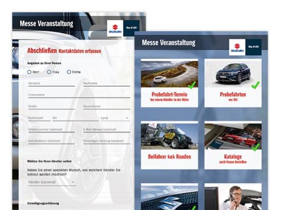 Kontaktdaten erfassen und Messe Veranstaltungen Screens der umgesetzten SUZUKI Auto Promo App