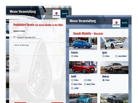 Probefahrt-Termin Formular und Suzuki Modelle - Übersicht Screens der umgesetzten SUZUKI Auto Promo App
