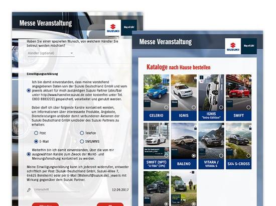 Einwilligungserklärung Formular und Katalog Bestellung Screens der umgesetzten SUZUKI Auto Promo App