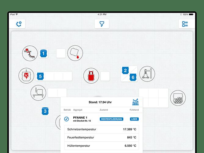 Home Screen mit Pop up Stand Beispiel der umgesetzten Stahlwerk App für die SMS Group