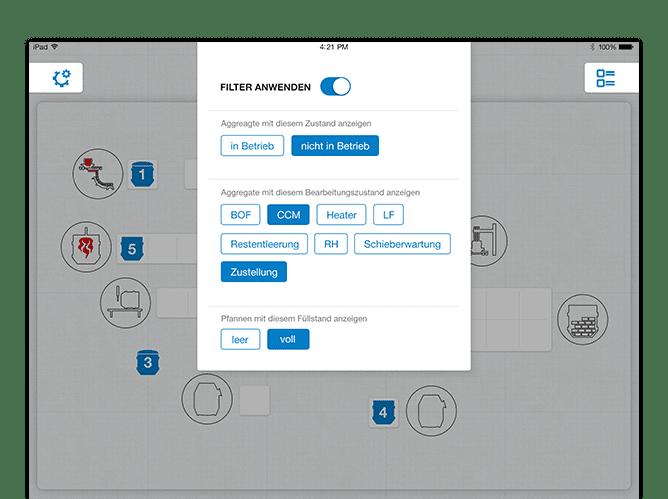 Home Screen mit Pop up Filter Beispiel der umgesetzten Stahlwerk App für die SMS Group
