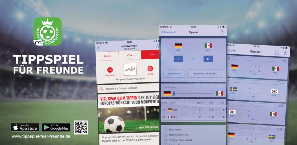 Tippspiel für Freunde Banner mit drei Beispiel Screens
