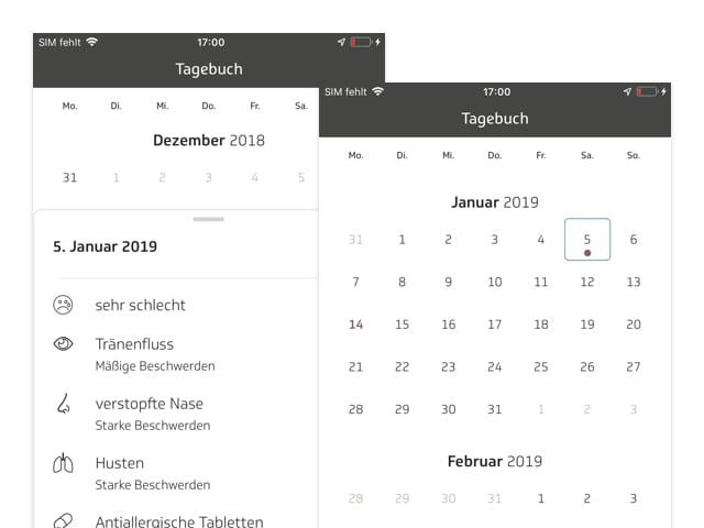 Tagebuch Symptome und Kalender Screens der umgesetzten TK Allergie-App Husteblume