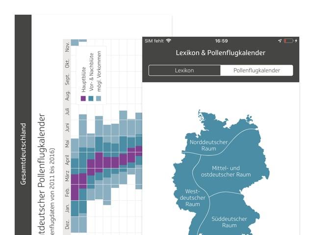 Pollenkalender und Deutschlandkarten Screens der umgesetzten TK Allergie-App Husteblume