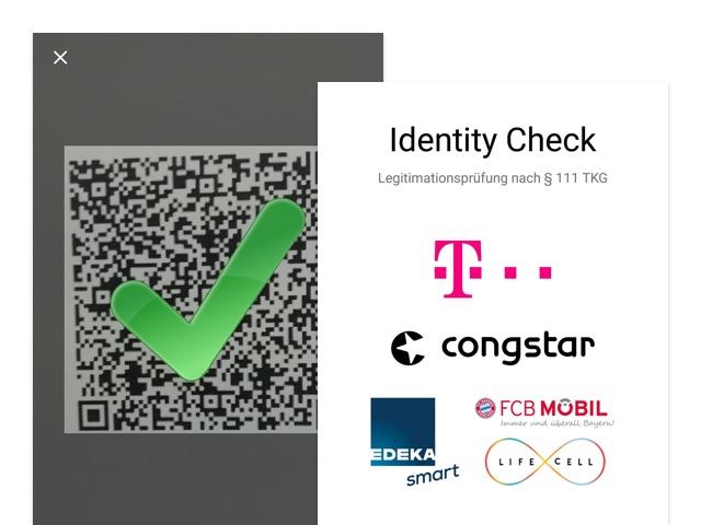 QR-Code und Identity Check Screens der umgesetzten Telekom Identity Check App für Gemalto