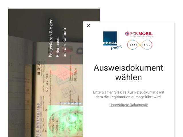 Kamera und Ausweisdokument wählen Screens der umgesetzten Telekom Identity Check App für Gemalto