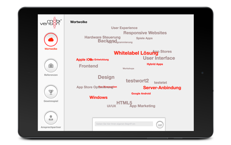 Screen whitelabel Messe App Tablet