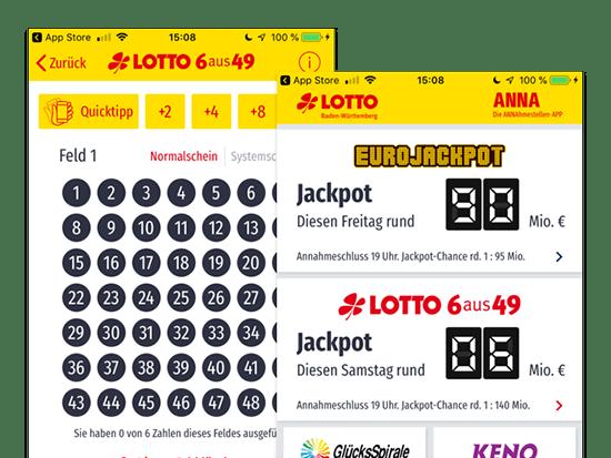 Lotto 6 aus 49 und Jackpot Screens der umgesetzten ANNA APP für die Staatliche Toto-Lotto GmbH Baden Württemberg