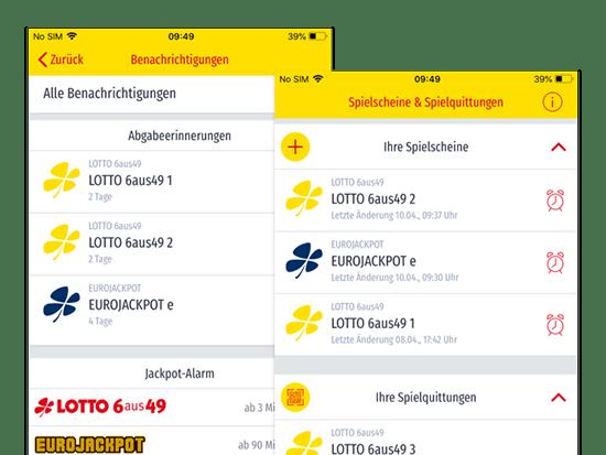 Benachrichtigungen und Spielscheine und Spielquittungen Screens der umgesetzten ANNA APP für die Staatliche Toto-Lotto GmbH Baden Württemberg