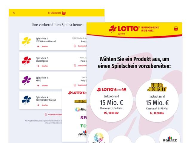 Ihre vorbereiteten Spielscheine und Produktauswahl Screens der umgesetzten STÄPP Service Terminal App für LOTTO Bayern