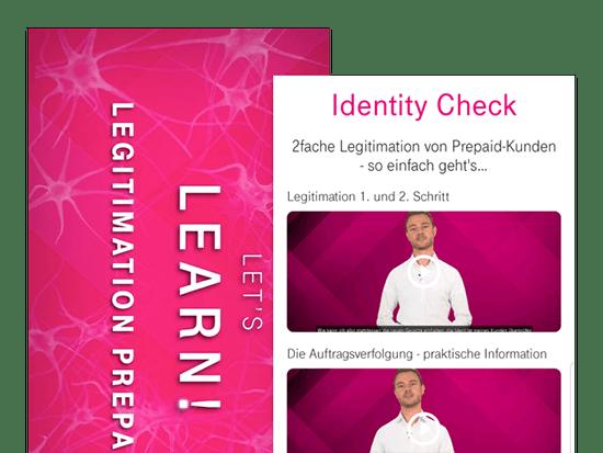 Let's learn! und Identity Check Video Screens der umgesetzten TelekomPREPAID App