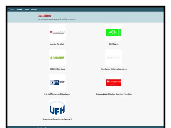 Aussteller Screen der IHK Existenz - Die Gründermesse Website für die IHK München