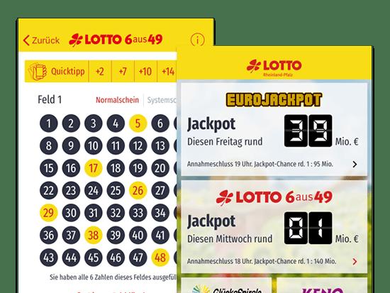 Quicktipp und Jackpot Screens der umgesetzten LoRA App für die Lotto Rheinland-Pfalz GmbH