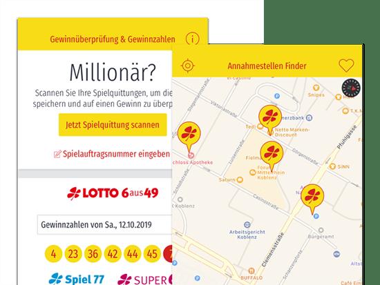 Gewinnüberprüfung und Annahmestellen Finder Screens der umgesetzten LoRA App für die Lotto Rheinland-Pfalz GmbH
